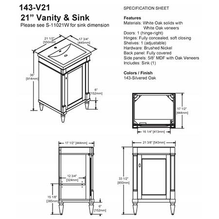 "143V21s 2 - 21"" Fairmont Designs Rustic Chic Vanity/Sink Combo"