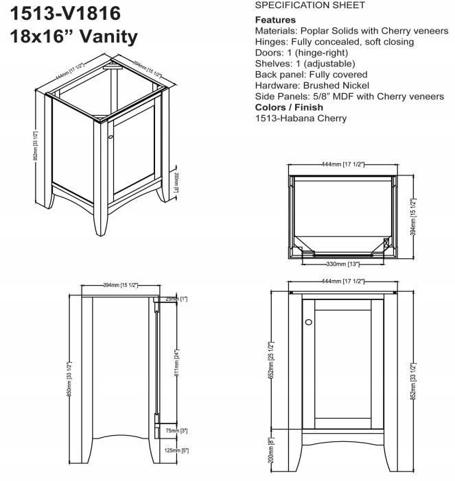 "1513V1816s - 18"" Fairmont Designs Shaker Americana Vanity/Sink Combo"