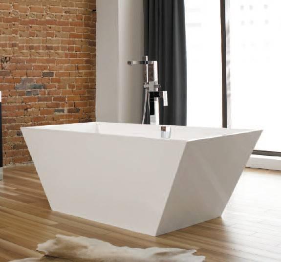 """r1 - 59.75"""" x 30"""" x 22.5"""" White Polymer Bathtub & Drain"""