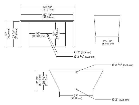 "r1s - 59.75"" x 30"" x 22.5"" White Polymer Bathtub & Drain"