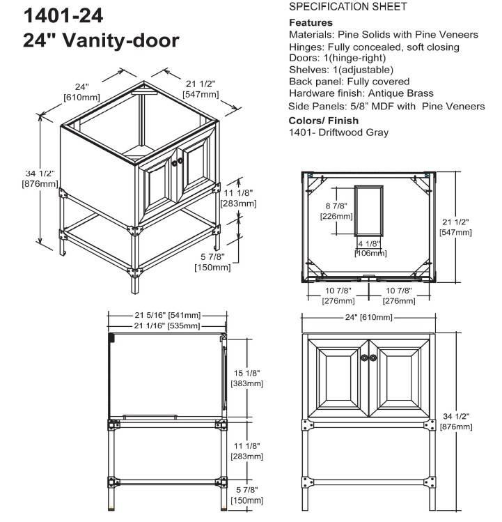 "140124s - 24"" Fairmont Designs Toledo Vanity"