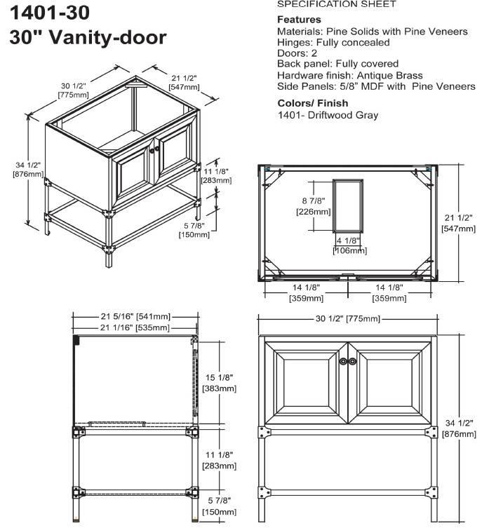 "140130S - 30"" Fairmont Designs Toledo Vanity"