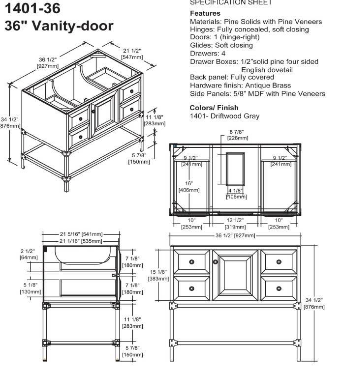 "140136s - 36"" Fairmont Designs Toledo Vanity"