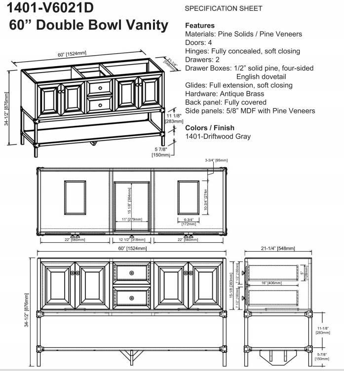 """140160DS - 60"""" Fairmont Designs Toledo Double Sink Vanity"""