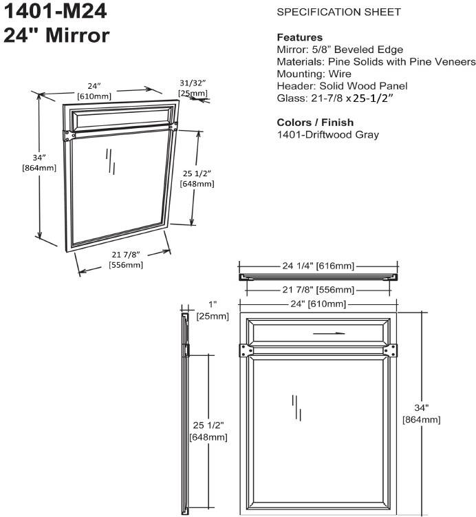 "1401M24S - 36"" Fairmont Designs Toledo Open Shelf Vanity"