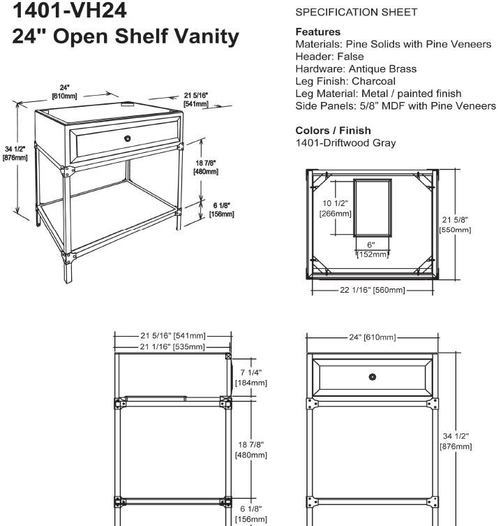 "1401VH24s - 24"" Fairmont Designs Toledo Open Shelf Vanity"