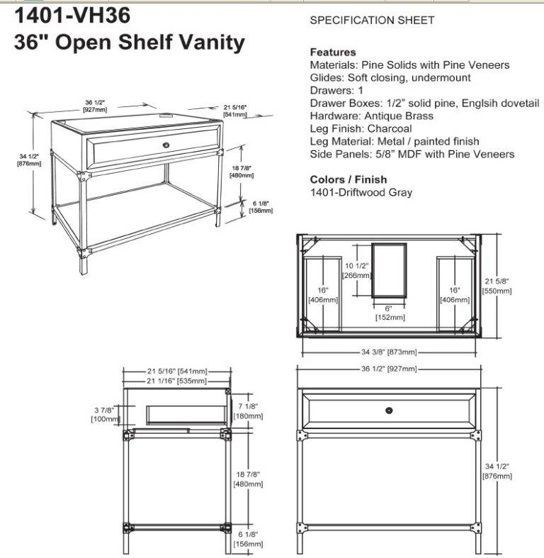 "1401VH36s 768x787 - 36"" Fairmont Designs Toledo Open Shelf Vanity"