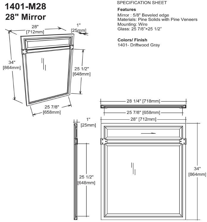 "1401m28s - 36"" Fairmont Designs Toledo Open Shelf Vanity"