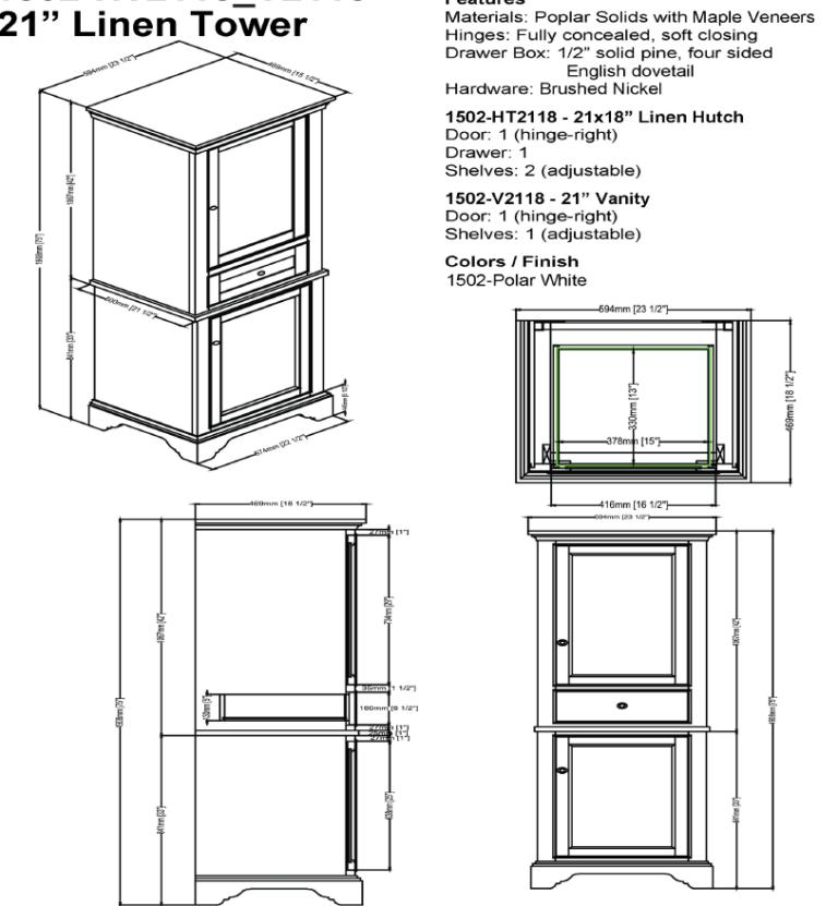 "1502 hts 768x831 - Fairmont Designs Framingham  21"" Linen Tower"