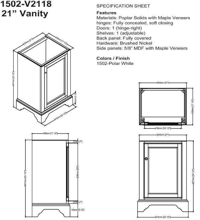 """1502V2118s - 21"""" Fairmont Designs Framingham Vanity/Sink Combo"""