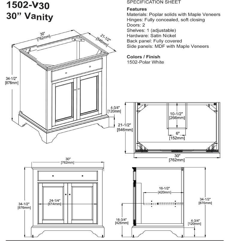"""1502V30s - 30"""" Fairmont Designs Framingham Vanity"""