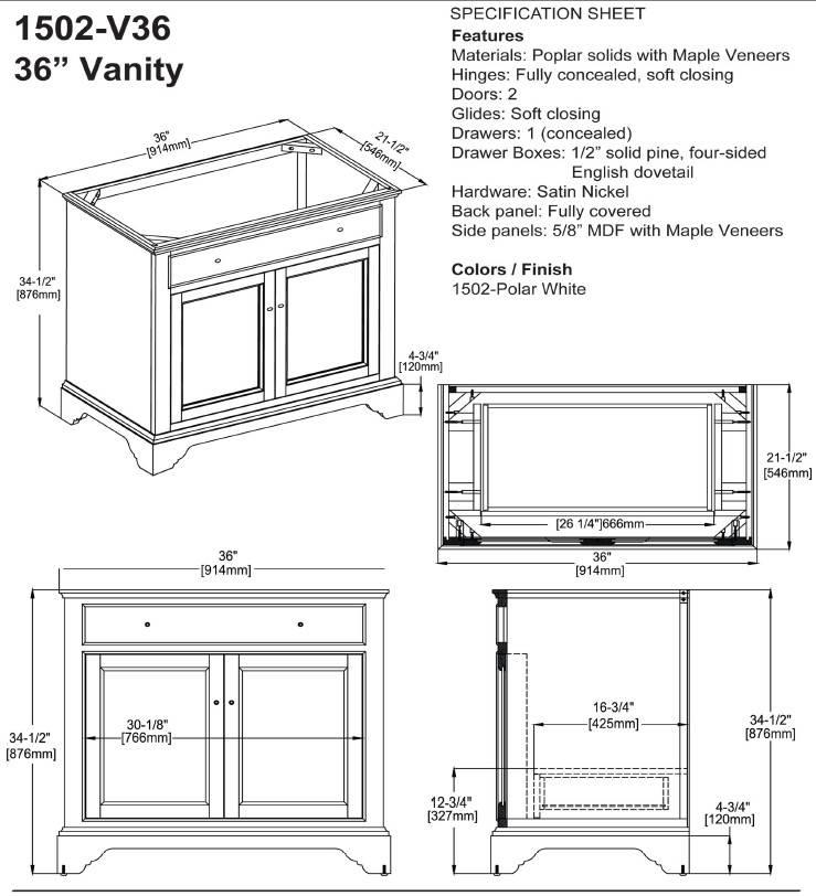"""1502V36S 1 - 36"""" Fairmont Designs Framingham Vanity"""