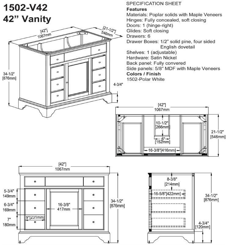 """1502V42S - 42"""" Fairmont Designs Framingham Vanity"""