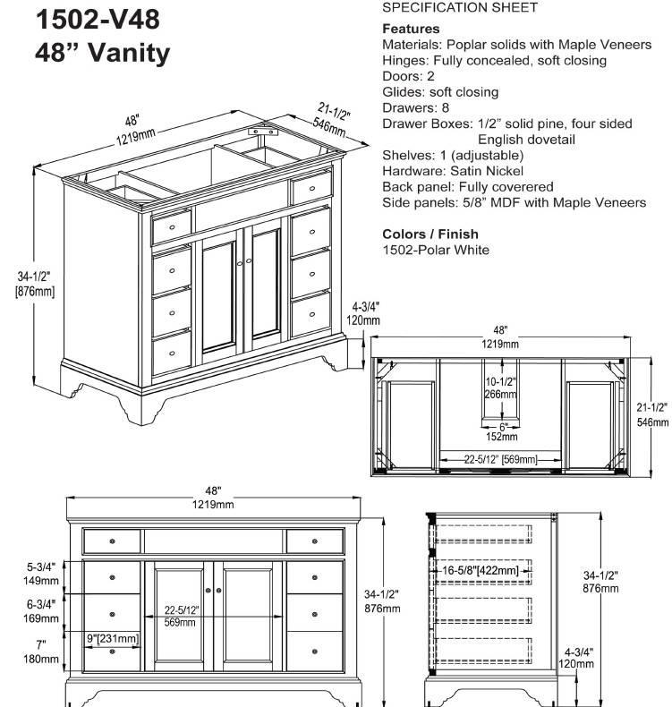 """1502V48S 1 - 48"""" Fairmont Designs Framingham Vanity"""