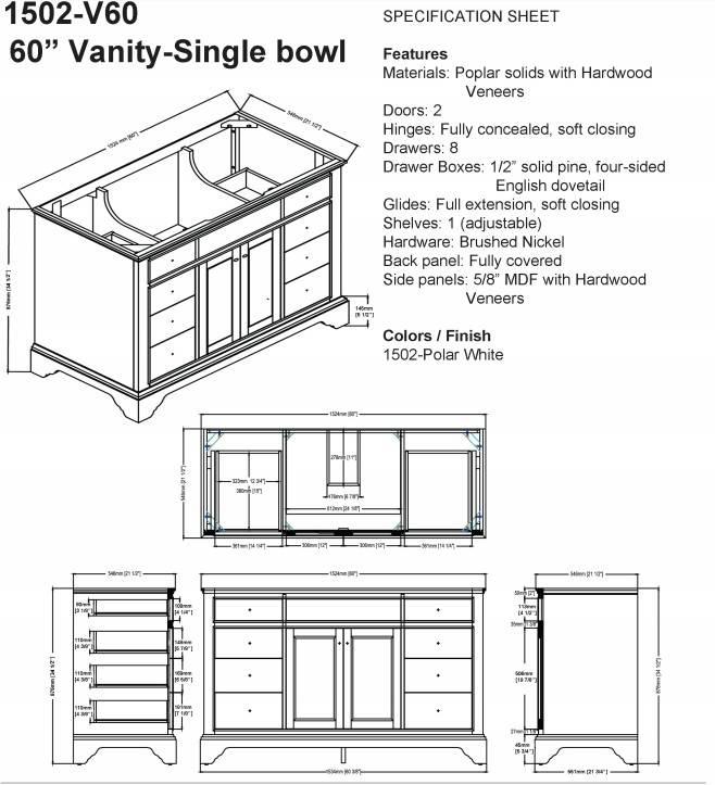 """1502v60s - 60"""" Fairmont Designs Framingham Vanity"""