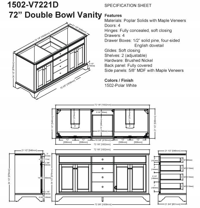 "1502v7221ds - 72"" Fairmont Designs Framingham Double Sink Vanity"