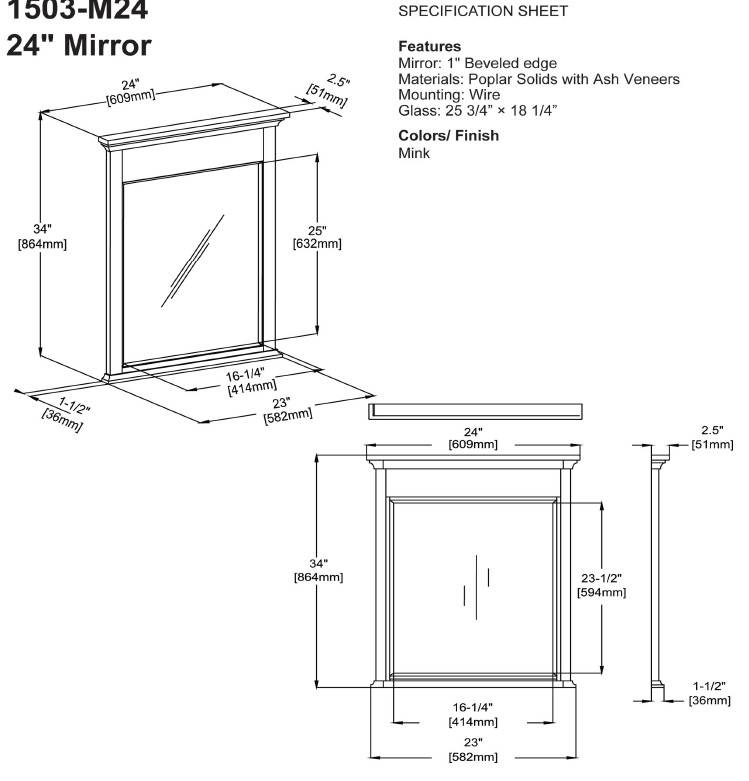 "1503m24s 2 - 24"" Fairmont Designs Smithfield Vanity"