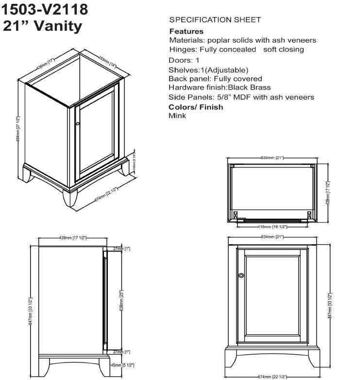 "1503v2118s - 21"" Fairmont Designs Smithfield Vanity/Sink Combo"