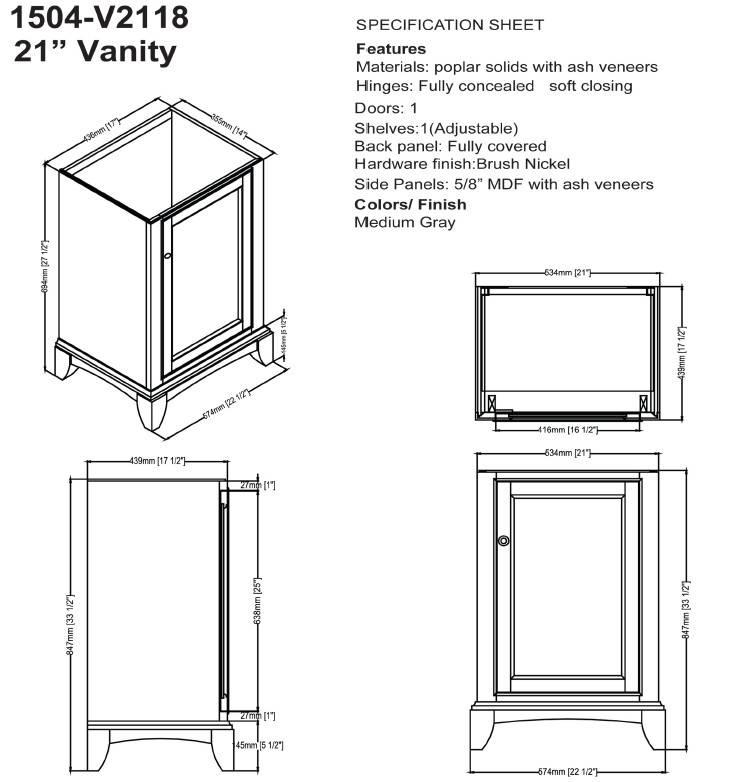 "1504V2118s - 21"" Fairmont Designs Smithfield Vanity/Sink Combo"
