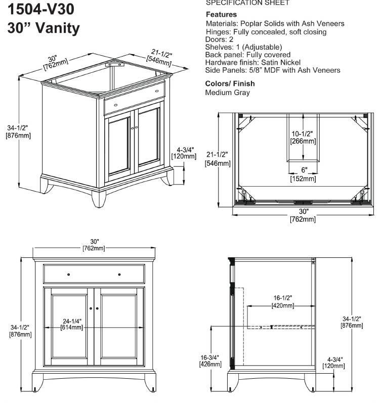 "1504V30s - 30"" Fairmont Designs Smithfield Vanity"