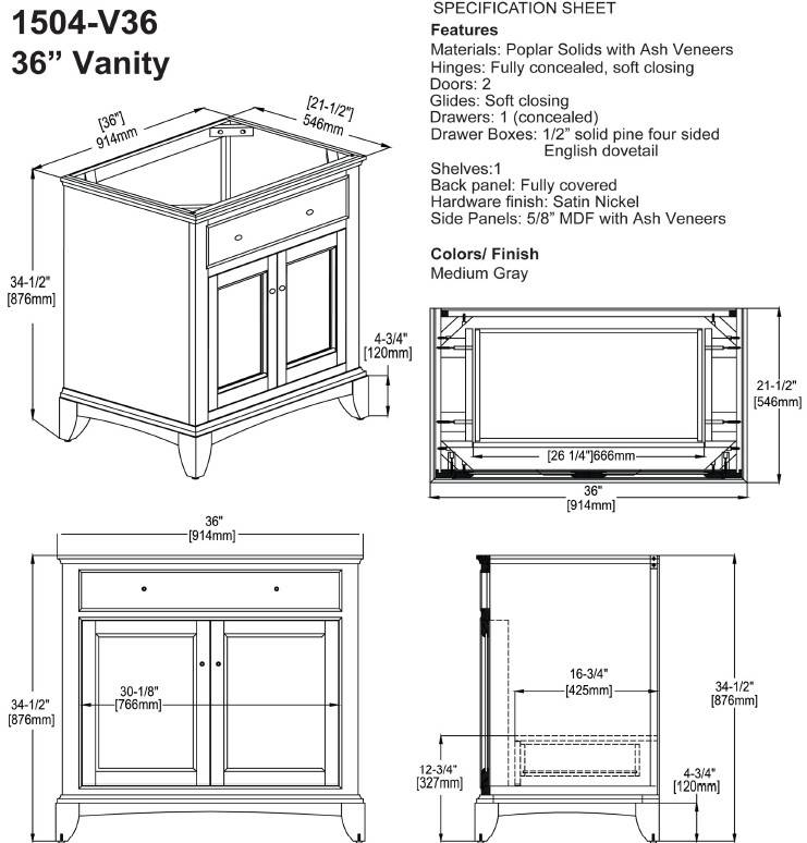 "1504V36s - 36"" Fairmont Designs Smithfield Vanity"