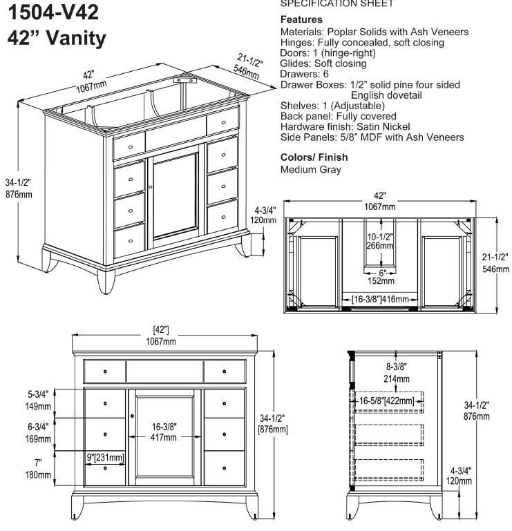 "1504V42s - 42"" Fairmont Designs Smithfield Vanity"
