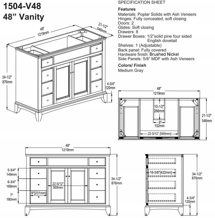 "1504V48S - 48"" Fairmont Designs Smithfield Vanity"