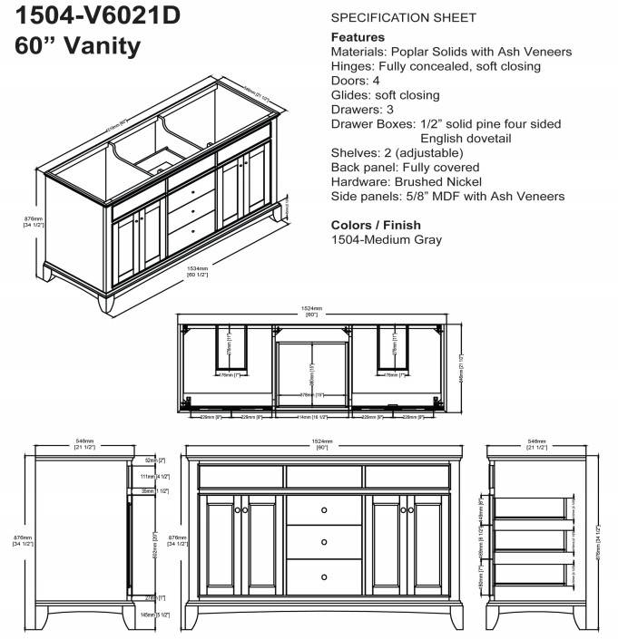 "1504V6021Ds - 60"" Fairmont Designs Smithfield Double Sink Vanity"