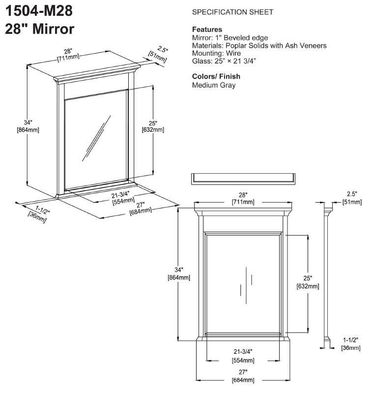 "1504m28s - 60"" Fairmont Designs Smithfield Double Sink Vanity"