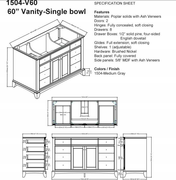 "1504v60s - 60"" Fairmont Designs Smithfield Vanity"