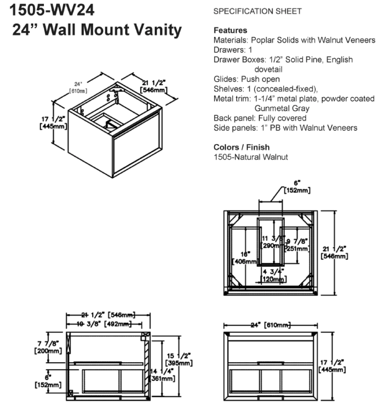 "1505 wv24s 768x830 - 24"" Fairmont Designs m4 Wall Mount Vanity"