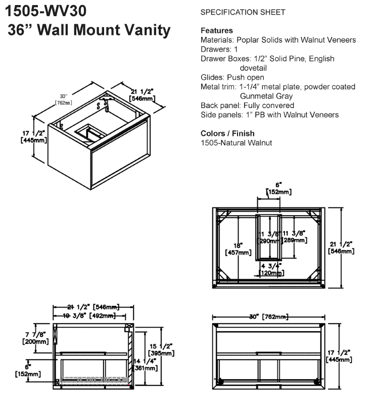 "1505 wv30s - 30"" Fairmont Designs Wall Mount m4 Vanity"