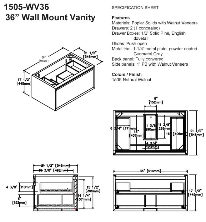 "1505 wv36s - 36"" Fairmont Designs Wall Mount m4 Vanity"