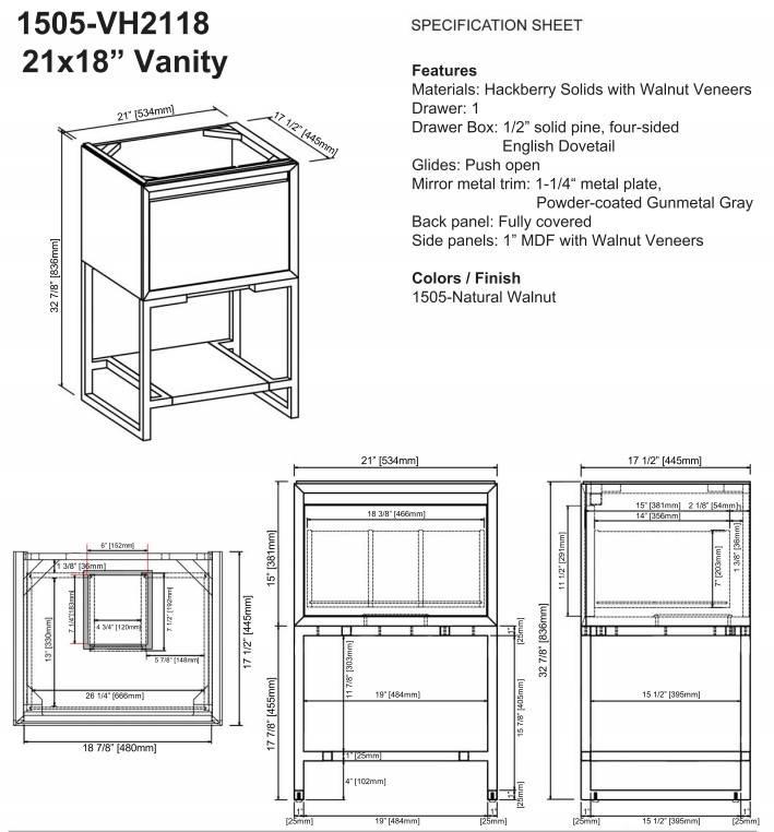 "1505VH2118S - 21"" Fairmont Designs m4 Vanity/Sink Combo"