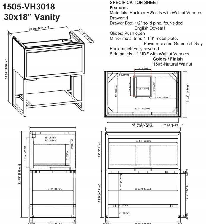 "1505vh3018s - 30"" Fairmont Designs m4 Vanity/Sink Combo"