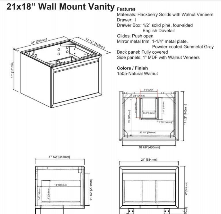 "1505wv2118s 768x742 - 21"" Fairmont Designs m4 Wall Mounted Vanity/Sink Combo"