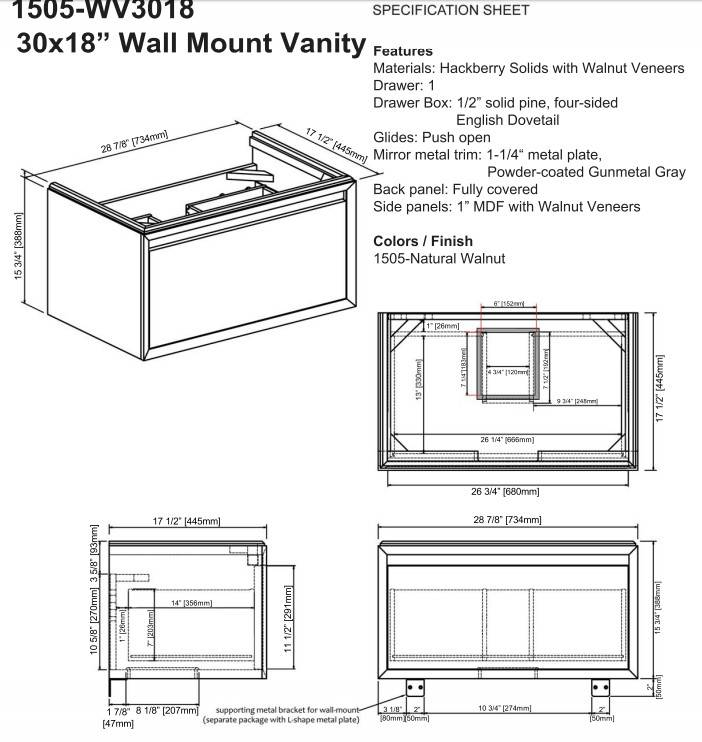 "1505wv3018ss - 30"" Fairmont Designs m4  Wall Mount Vanity/Sink Combo"