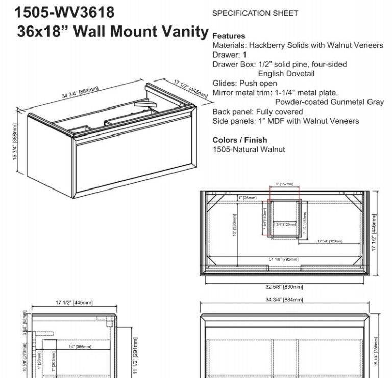 """1505wv3618s 768x742 - 36"""" Fairmont Designs m4  Wall Mount Vanity/Sink Combo"""