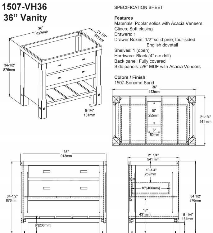 "1507VH36s - 36"" Fairmont Designs Napa Vanity"