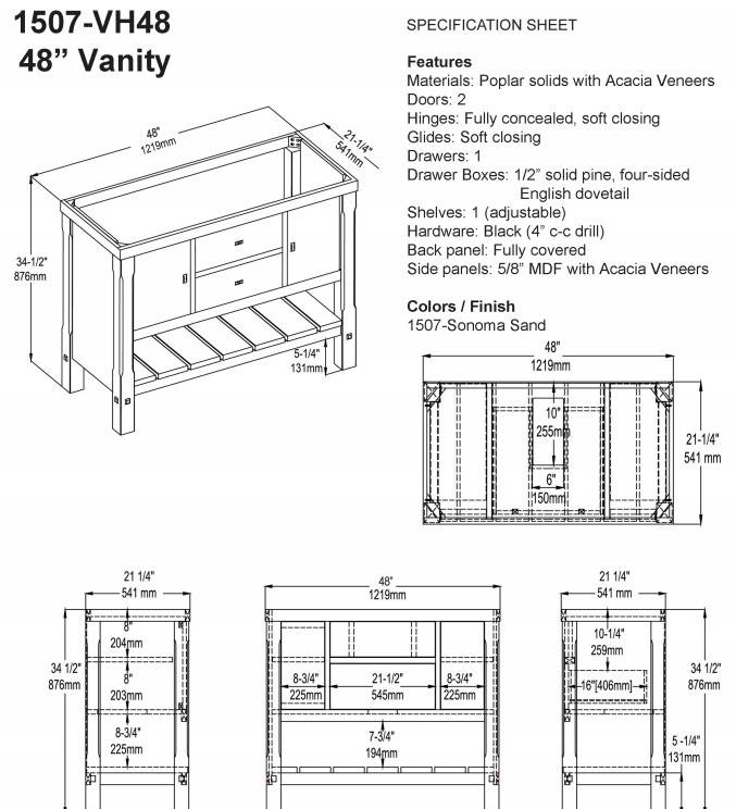 "1507VH48s - 48"" Fairmont Designs Napa Vanity"