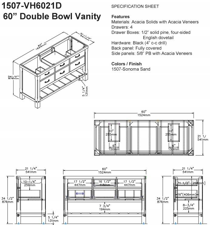 "1507VH6012DS - 60"" Fairmont Designs Napa Double Sink Vanity"