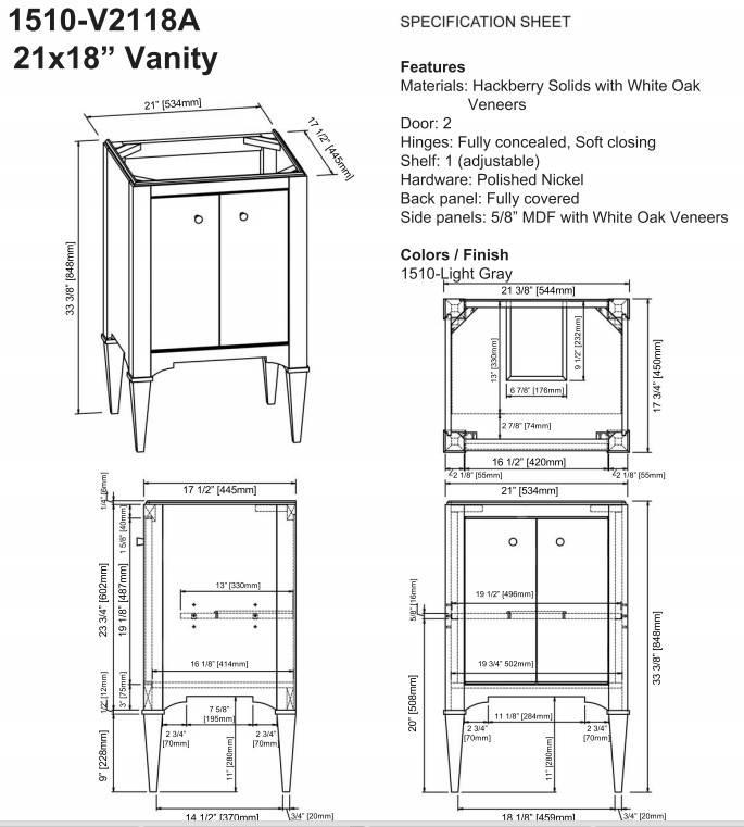 """1510v2118s - 21"""" Fairmont Designs Charlottesville Vanity/Sink Combo"""