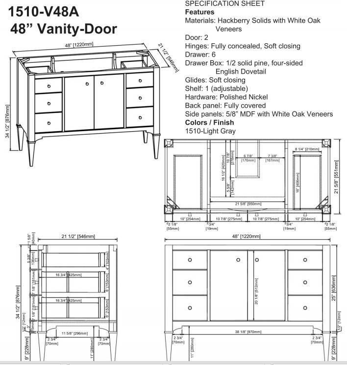 """1510v48as - 48"""" Fairmont Designs Charlottesville Vanity"""