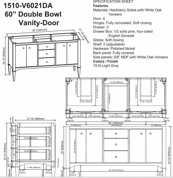 "1510v6021das - 60"" Fairmont Designs Charlottesville Double Sink Vanity"