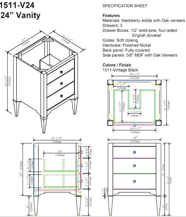 """1511 v24s 1 - 24"""" Fairmont Designs Charlottesville Vanity"""
