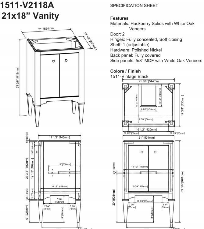 "1511v2118as 1 - 21"" Fairmont Designs Shaker Americana Vanity/Sink Combo"