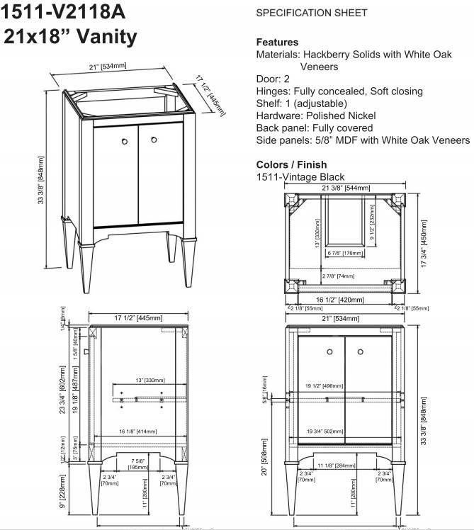 "1511v2118as - 21"" Fairmont Designs Charlottesville Vanity/Sink Combo"