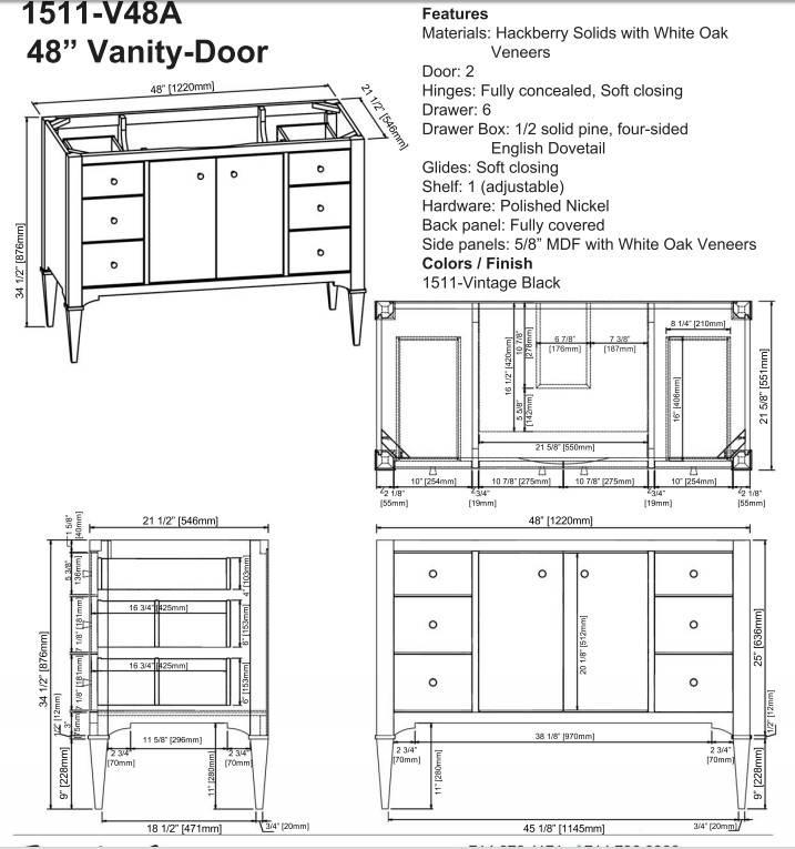 """1511v48as - 48"""" Fairmont Designs Charlottesville Vanity"""