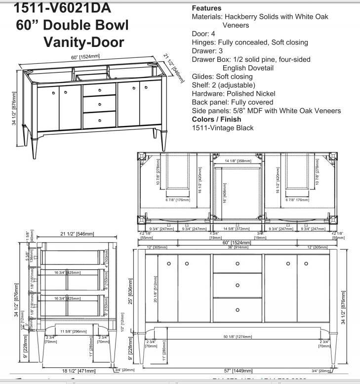 "1511v6021das - 60"" Fairmont Designs Charlottesville Double Sink Vanity"