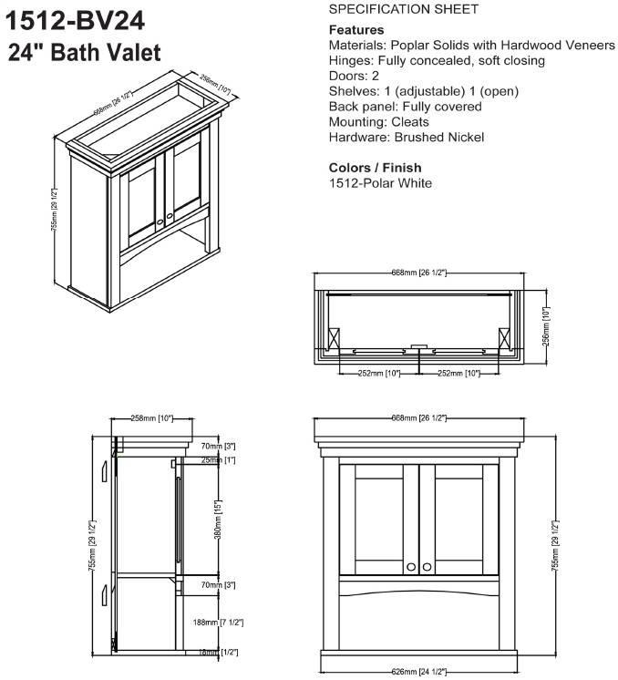 "1512BV24s - 18"" Fairmont Designs Shaker Americana Vanity/Sink Combo"